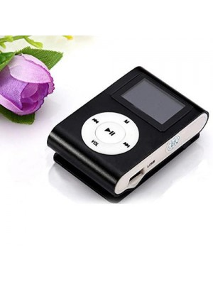 USB Clip Mp3 Player With LCD Screen - Black