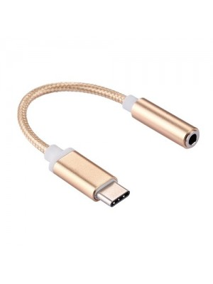 SD USB-C / Type-C Male to 3.5mm Female Weave Texture Audio Adapter