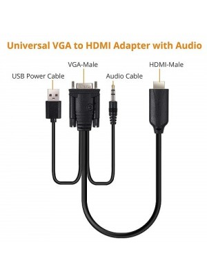FC Vga To HDMI Adapter With 3.5mm Audio