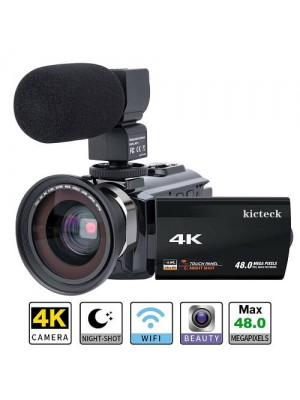 4k Digital WIFI Touch Screen Night Vision Vlogging Video Camcorder With External Mic