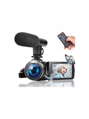 Full HD 1080P Touch Screen Vlog Video Camera With External Microphone & Remote