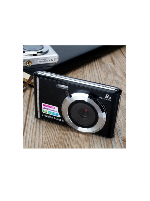 WSTER 21MP Rechargeable Digital Camera - 8x Digital Zoom With 4GB SD Card - Black