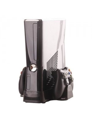 XBox 360 Slim Cooling Fan Console Stand With Controller Storage