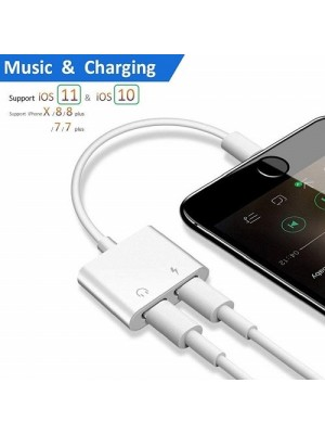 Dual Lightning Jack Headphone Adapter Charger For iPhone/ iPad/iPod