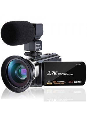 FC Full HD 2.7k 30MP IR Night Vision Touch Screen Camcorder With Microphone - Wide Angle Lens