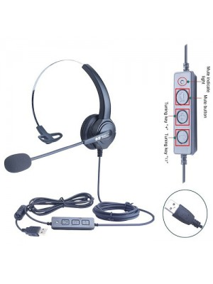 Noise Cancellation Monoral Office USB Headset For Pc And Laptop - Black